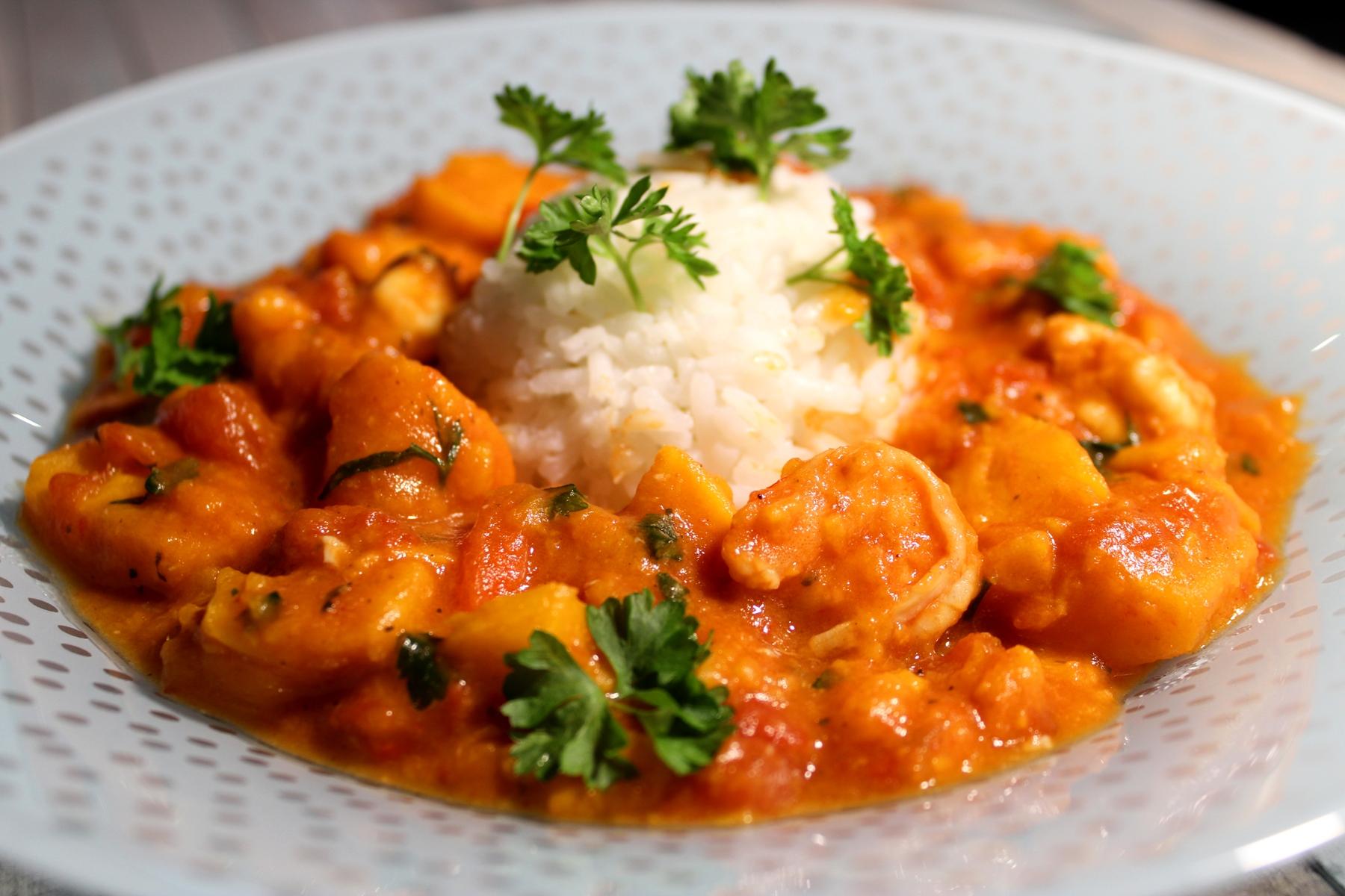 Curry z krewetkami
