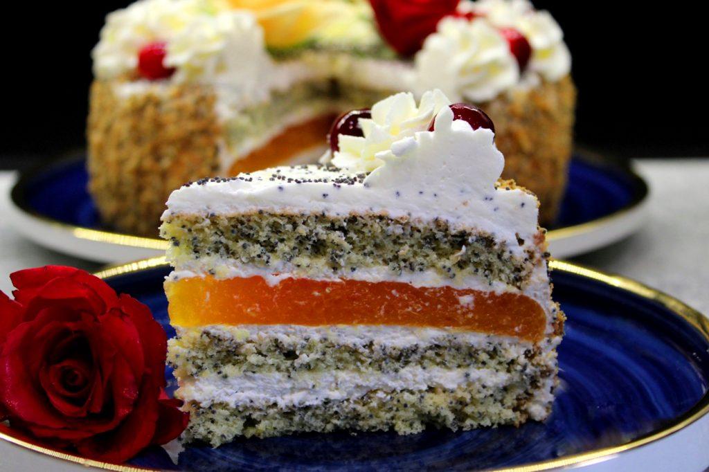 Tort makowo - pomarańczowy
